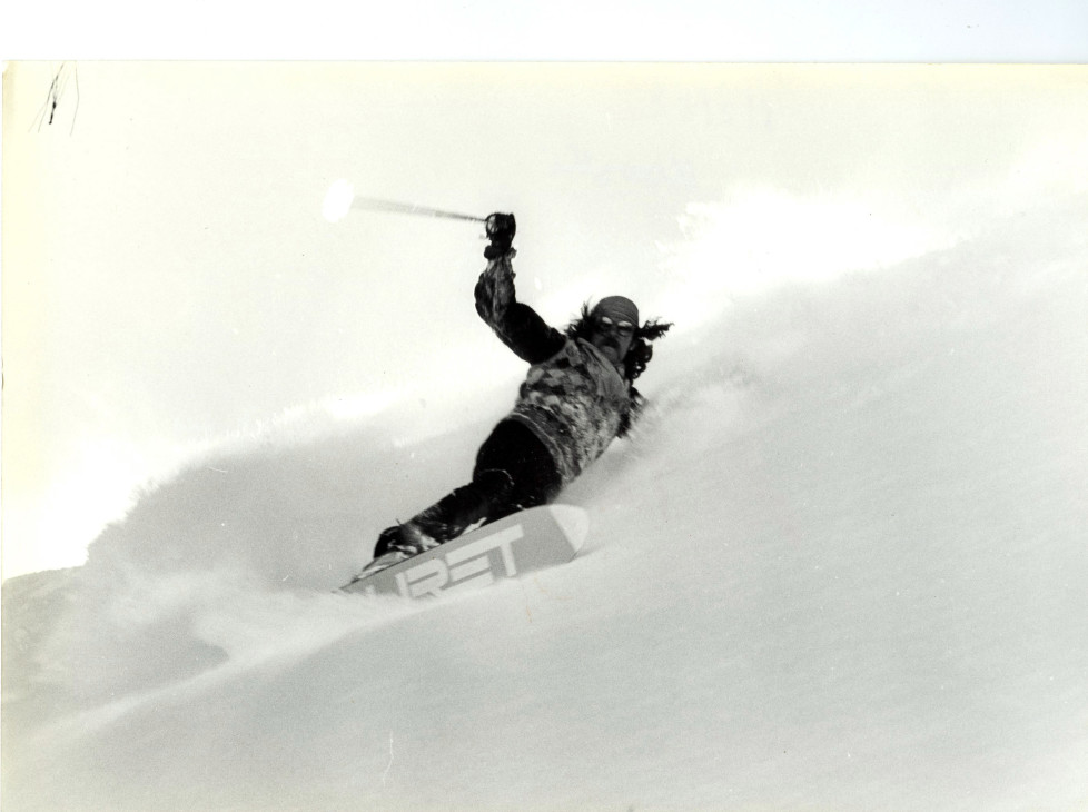 Monoski in France, 1982. (Photo by Philippe Le Tellier / Getty Images)