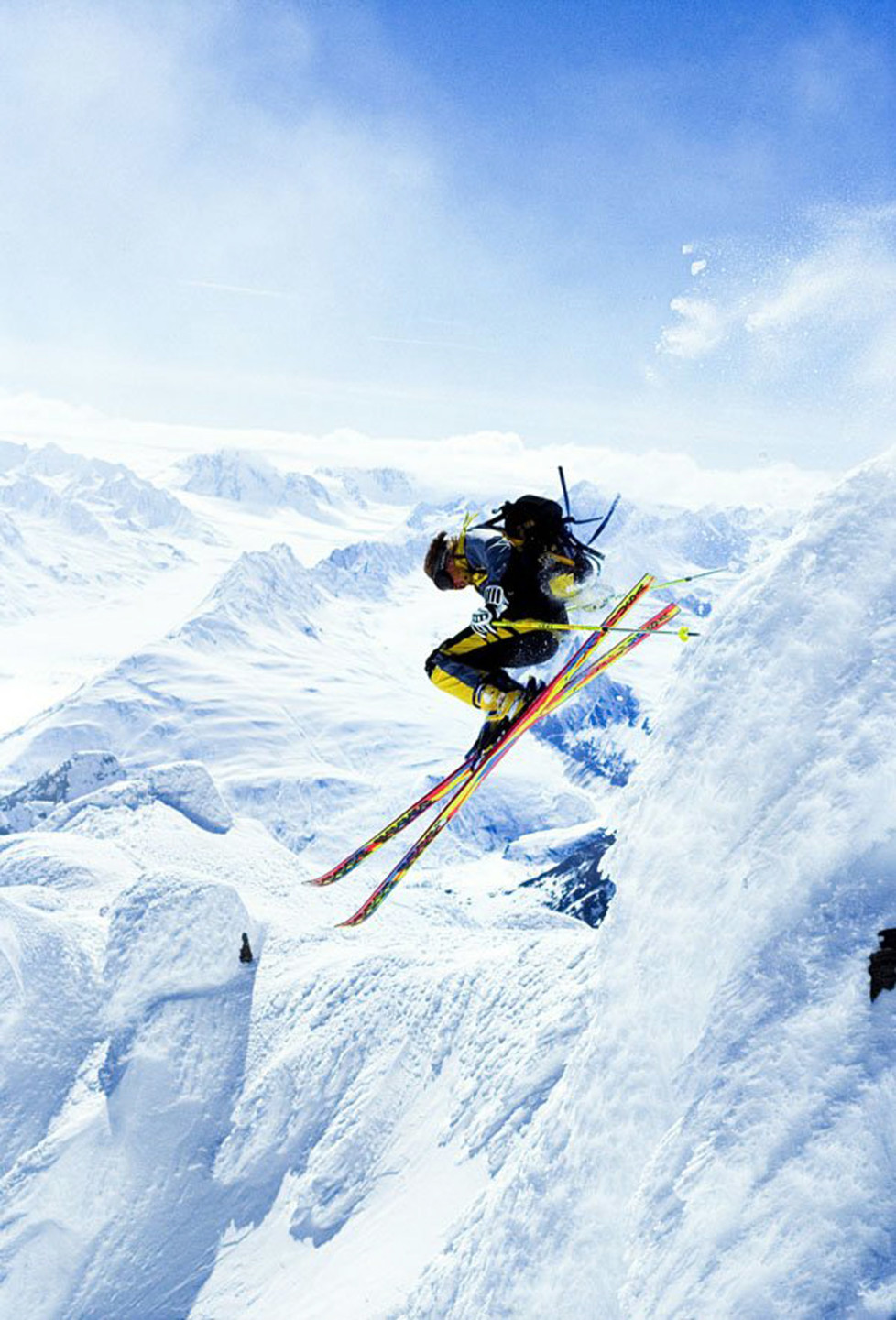 "American extreme skier Scott Schmidt pushing the envelope in the Chugach Mountains, near Valdez Alaska, from the movie ""Steep."" (Photo by Chris Noble/Anchorage Daily News/MCT via Getty Images)"