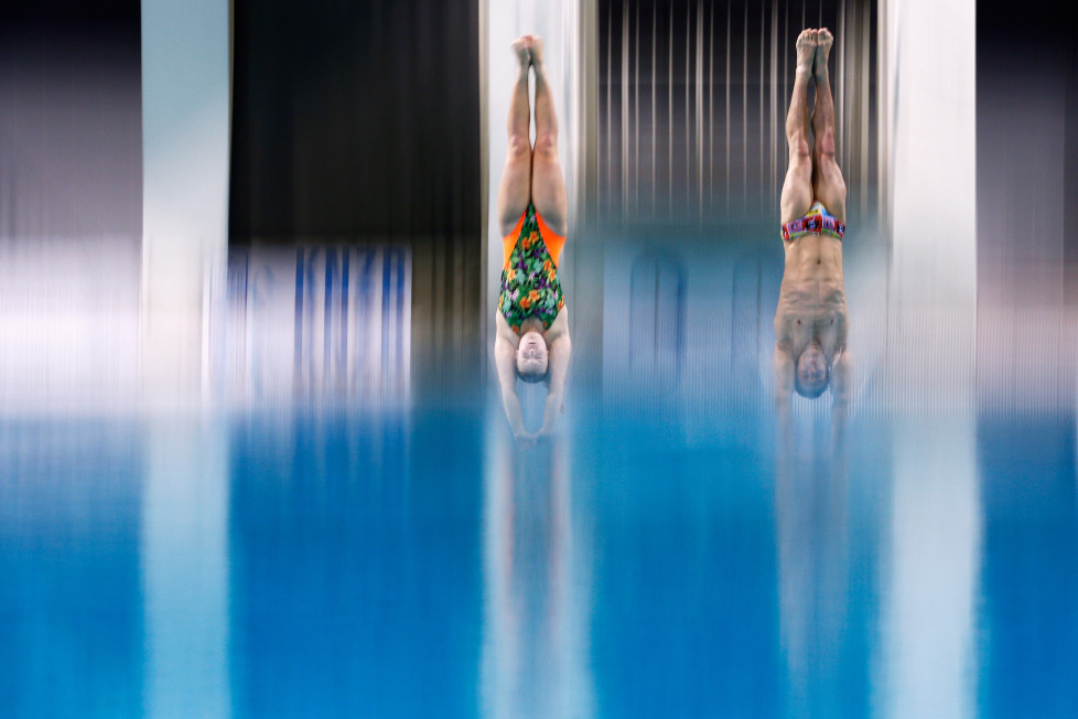 EINDHOVEN, NETHERLANDS - FEBRUARY 07: Silke Kerkhofs and Bjorn Claes of Belgium compete in the Synchro Mixed Platform Final during the Senet Diving Cup held at Pieter van den Hoogenband Swimming Stadium on February 7, 2016 in Eindhoven, Netherlands. (Photo by Dean Mouhtaropoulos/Getty Images)