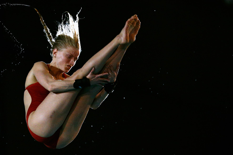 EINDHOVEN, NETHERLANDS - FEBRUARY 06: Bo Damen of the Netherlands competes in the Womens Open Platform during the Senet Diving Cup held at Pieter van den Hoogenband Swimming Stadium on February 6, 2016 in Eindhoven, Netherlands. (Photo by Dean Mouhtaropoulos/Getty Images)