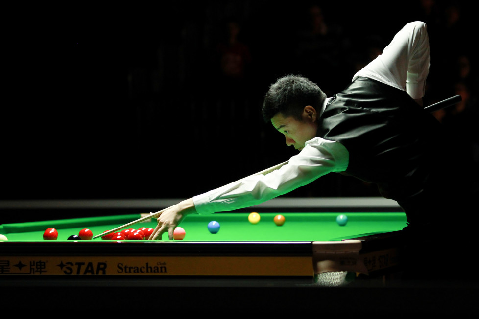 CARDIFF, WALES - FEBRUARY 17: (CHINA OUT) Ding Junhui of China plays a shot in the third round match against Matthew Selt of England on day three of BetVictor Welsh Open 2016 at Motorpoint Arena on February 17, 2016 in Cardiff, Wales. (Photo by ChinaFotoPress/ChinaFotoPress via Getty Images)