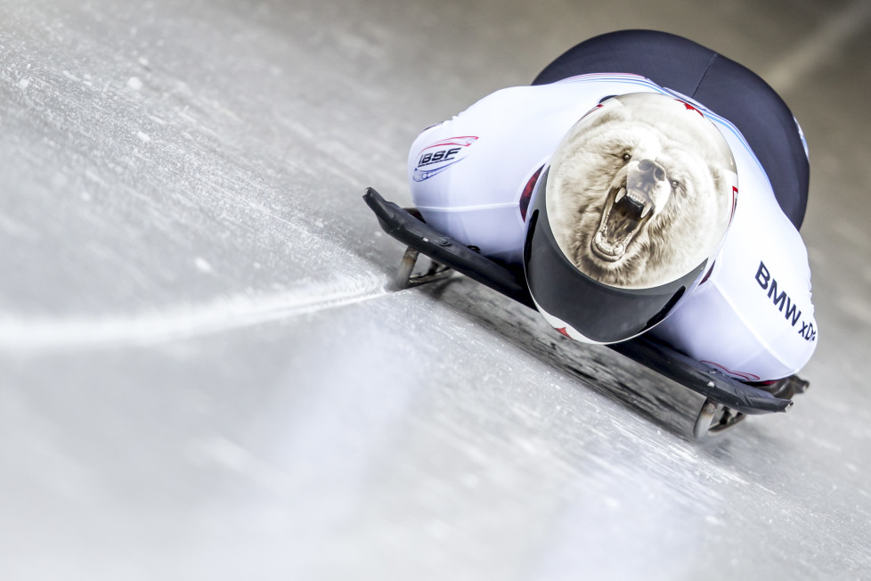 KOENIGSEE, GERMANY - FEBRUARY 27: Barrett Martineau of Canada pushes off the start during the first run of the IBSF Bobsleigh & Skeleton World Cup on February 27, 2016 in Koenigsee, Germany. (Photo by Jan Hetfleisch/Bongarts/Getty Images)