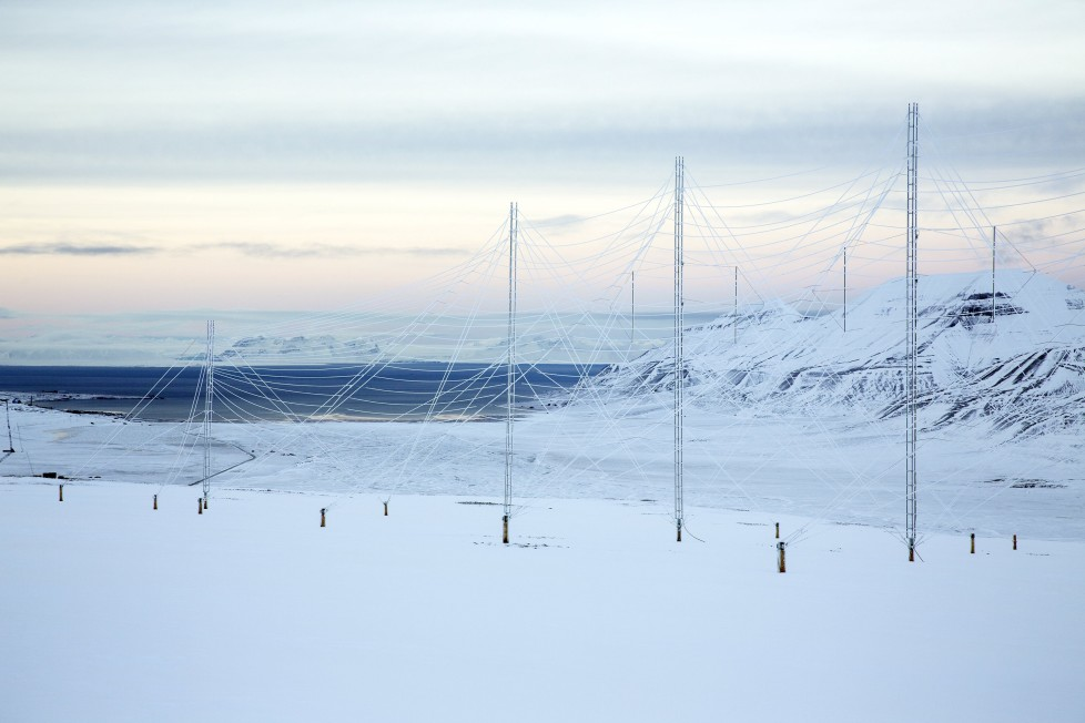 """Radar antennas at the European Incoherent Scatter Scientific Association (EISCAT) facility on Breinosa, Svalbard, Norway October 24, 2015. A Norwegian chain of islands just 1,200 km (750 miles) from the North Pole is trying to promote new technologies, tourism and scientific research in a shift from high-polluting coal mining that has been a backbone of the remote economy for decades. Norway suspended most coal mining on the Svalbard archipelago last year because of the high costs, and is looking for alternative jobs for about 2,200 inhabitants on islands where polar bears roam. Part of the answer may be to boost science: in Ny-Alesund, the world's most northerly permanent non-military settlement, scientists from 11 nations including Norway, Germany, France, Britain, India and South Korea study issues such as climate change. The presence of Norway, a NATO member, also gives the alliance a strategic foothold in the far north, of increasing importance after neighbouring Russia annexed Ukraine's Crimea region in 2014. REUTERS/Anna FilipovaPICTURE 02 OF 19 - SEARCH """"SVALBARD FILIPOVA"""" FOR ALL IMAGES"""