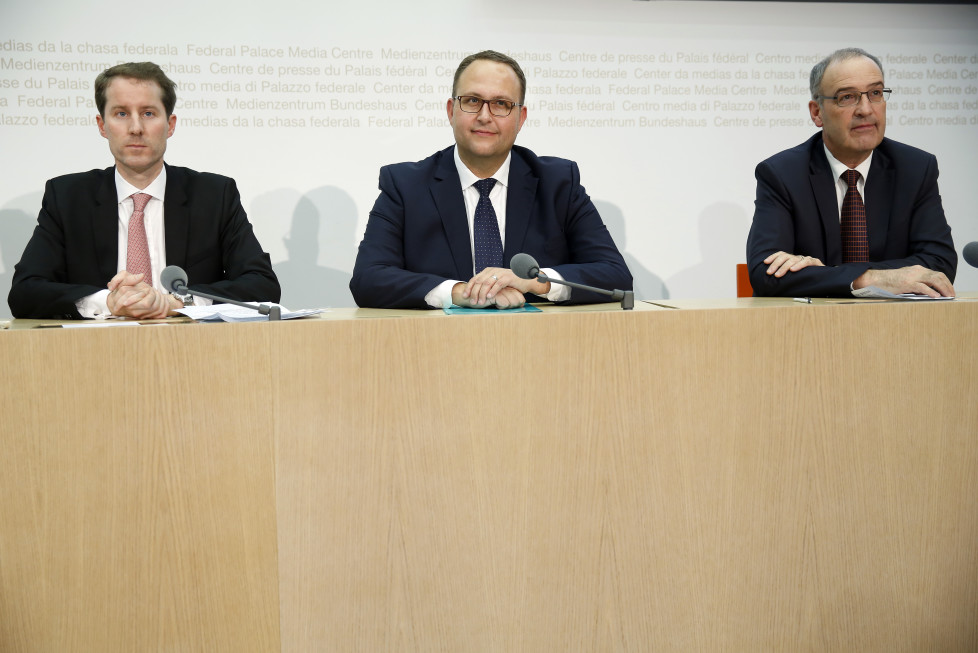 Swiss People's Party (SVP) ministerial candidates Thomas Aeschi (L-R), Norman Gobbi and Guy Parmelin attend a news conference in Bern, Switzerland November 20, 2015. REUTERS/Ruben Sprich