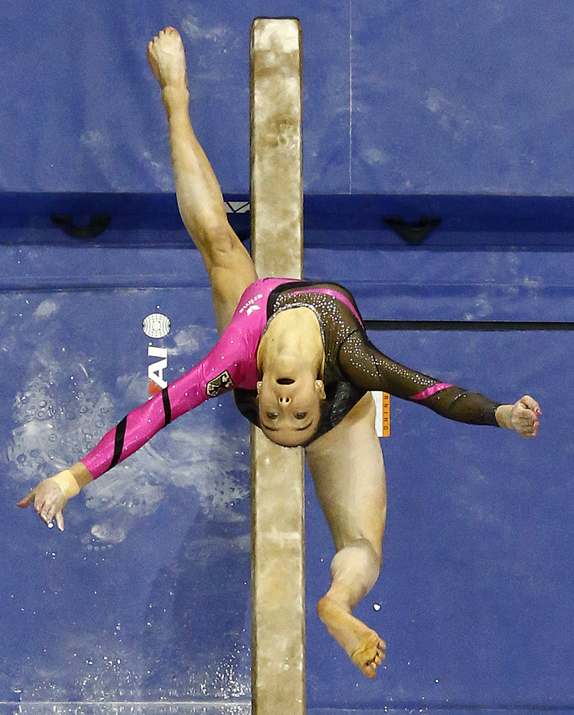 Tabea Alt, of Germany, competes on the balance beam during the 2016 AT&T American Cup gymnastics competition, Saturday, March 5, 2016, in Newark, N.J. (AP Photo/Julio Cortez)