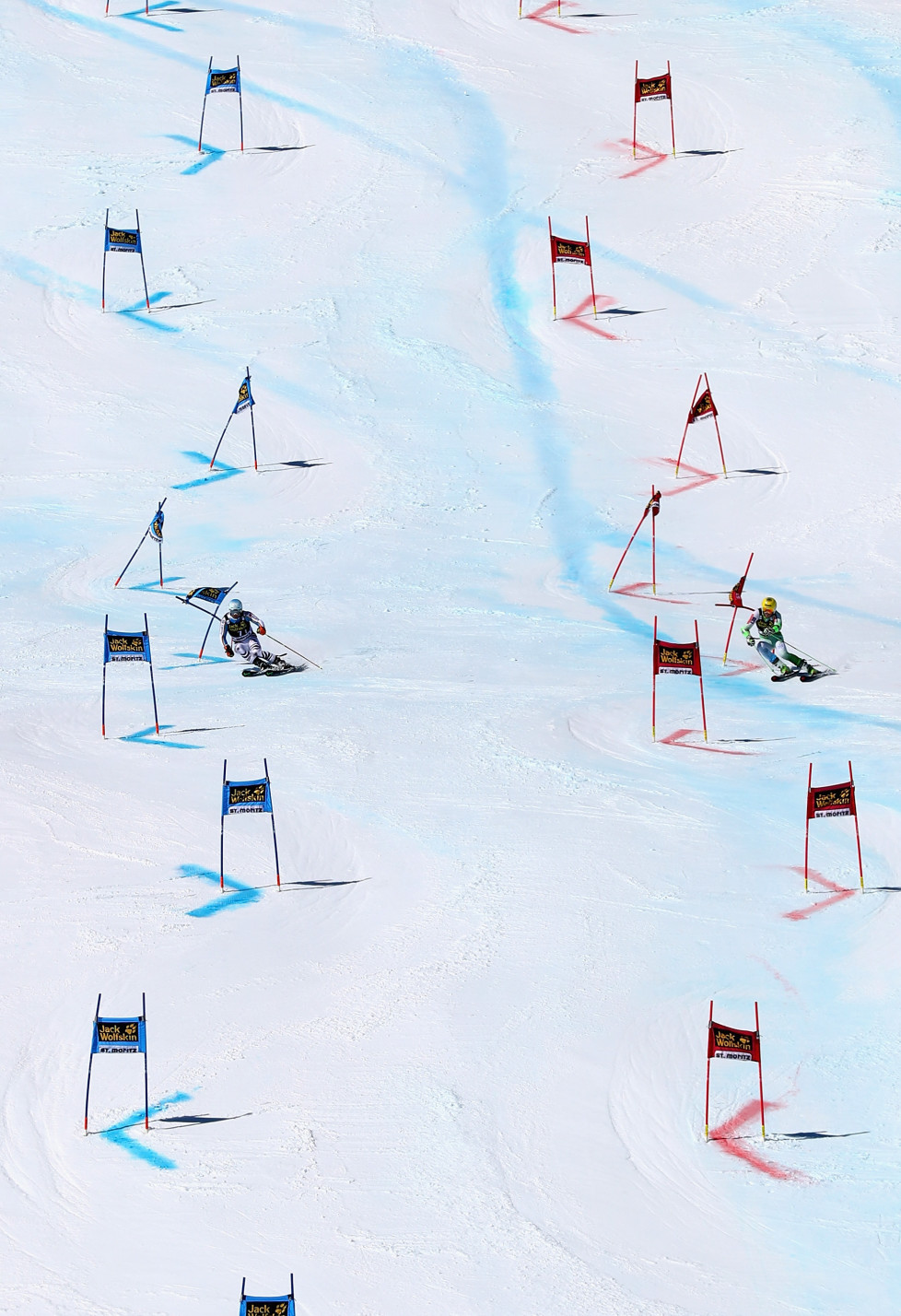 ST MORITZ, SWITZERLAND - MARCH 18: Germany and Slovenia compete during the Audi FIS Alpine Ski World Cup Finals Men's and Women's Team Event on March 18, 2016 in St Moritz, Switzerland. (Photo by Clive Rose/Getty Images)