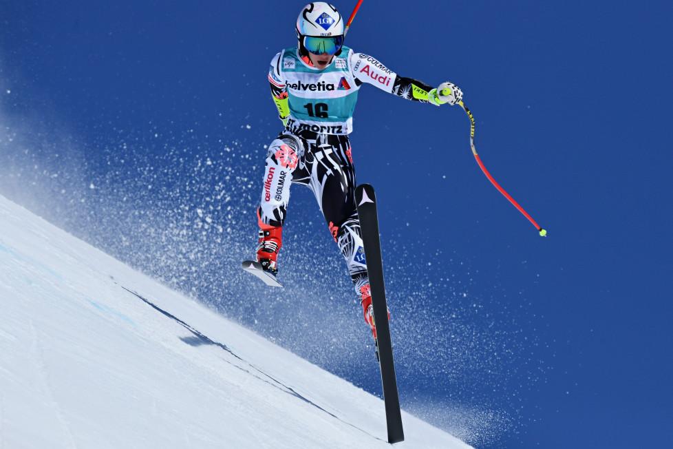 ST MORITZ, SWITZERLAND - MARCH 17: Tina Weirather of Liechtenstein in action during the Audi FIS Alpine Ski World Cup Finals Men's and Women's Super G on March 17, 2016 in St Moritz, Switzerland. (Photo by Matthias Hangst/Getty Images)