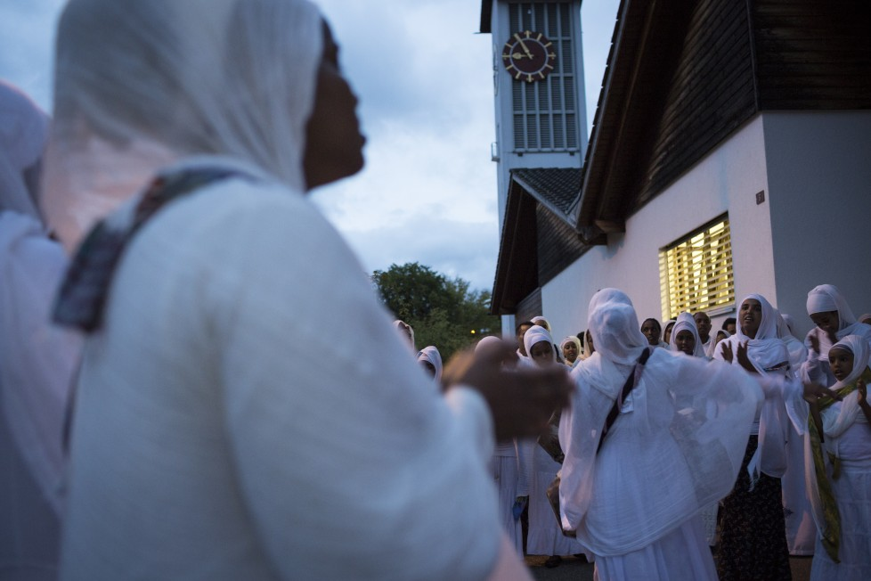 Buchs, 15.8.2015. Eritreisch-orthodoxer Gottesdienst in der refomierten Kirche von Buchs AG. Foto: Daniel Rihs / 13 Photo