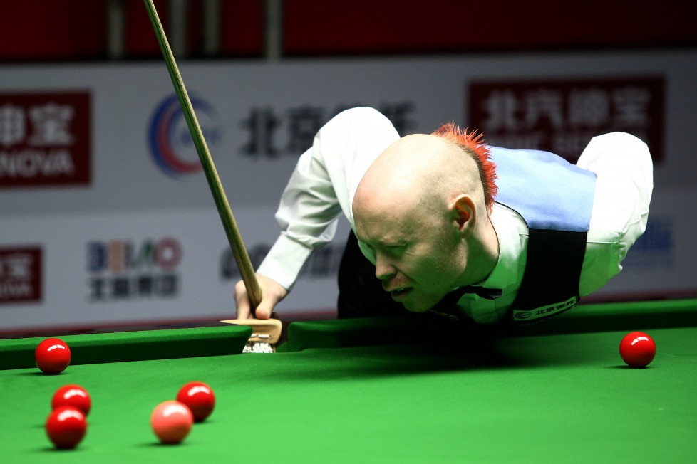 BEIJING, CHINA - MARCH 28: (CHINA OUT) Gary Wilson of England reacts during the first round match against Stephen Maguire of Scotland on day one of China Open at Beijing University Students' Gymnasium on March 28, 2016 in Beijing, China. (Photo by VCG/VCG via Getty Images)