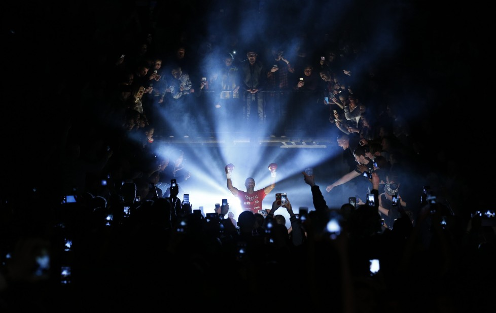 Boxing - Kell Brook v Kevin Bizier IBF Welterweight Title - Sheffield Arena - 26/3/16 Kell Brook makes his entrance before the fight Action Images via Reuters / Andrew Couldridge Livepic EDITORIAL USE ONLY.