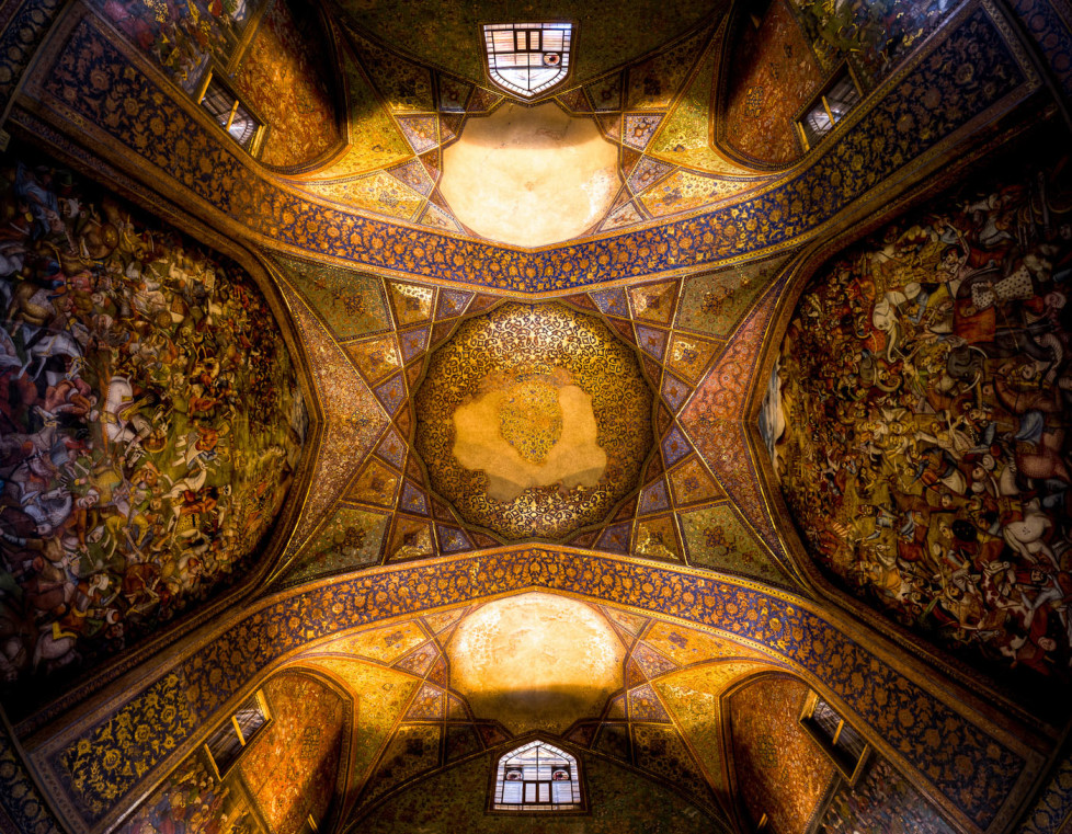 """Chehel Sotoun palace ( literally: """"palace of Forty Columns"""") is located in Isfahan. built by Shah Abbas II to be used for his entertainment and receptions. This Image is showing the Ceiling of it`s main hall."""