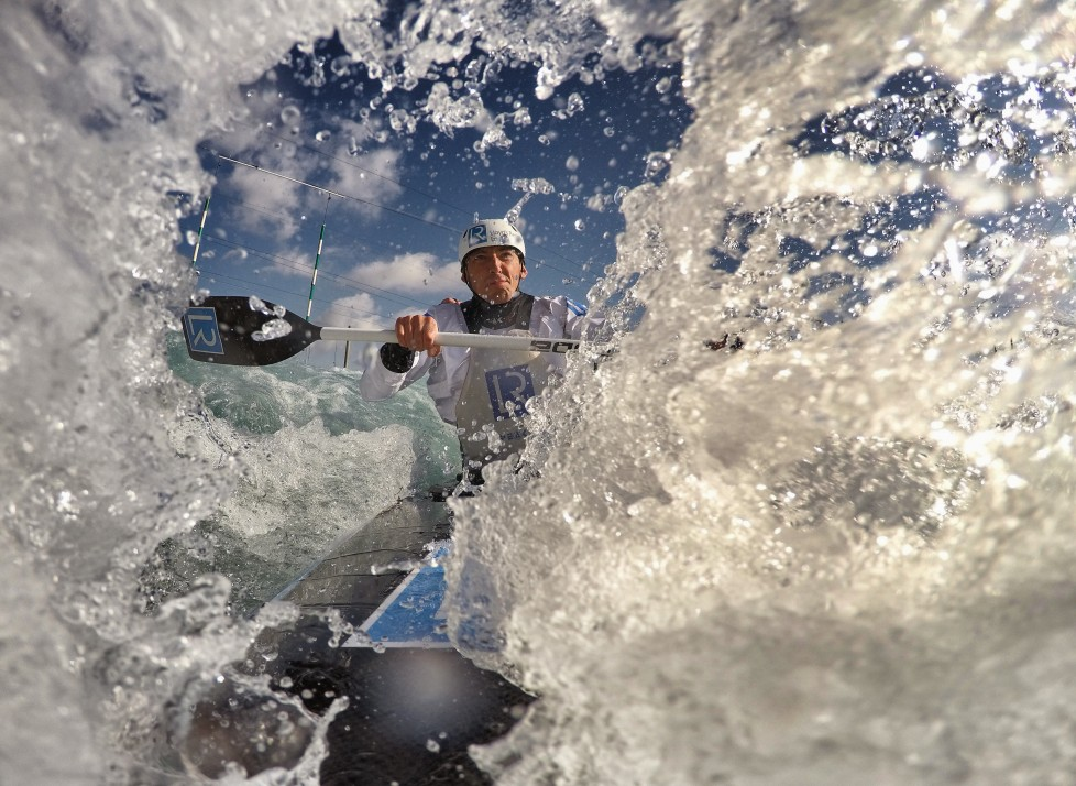 LONDON, ENGLAND - APRIL 5: Editors note: Digital filters were used on this image.) David Florence of Team GB trains with Richard Hounslow in the C2 at Lee Valley White Water Cenrte on April 5, 2016 in London, England. (Photo by Laurence Griffiths/Getty Images)