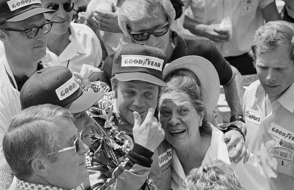 FILE - In this May 27, 1972 file photo, Mark Donohue hugs his mother, Zilly, after he won the Indianapolis 500 auto race at Indianapolis Motor Speedway in Indianapolis, Ind. (AP Photo/File)