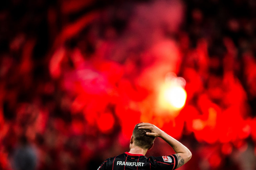 FRANKFURT AM MAIN, GERMANY - MAY 19: Bastian Oczipka of Frankfurt reacts during the Bundesliga Playoff Leg 1 match between Eintracht Frankfurt and 1. FC Nuernberg at Commerzbank-Arena on May 19, 2016 in Frankfurt am Main, Germany. (Photo by Simon Hofmann/Bundesliga/DFL via Getty Images )