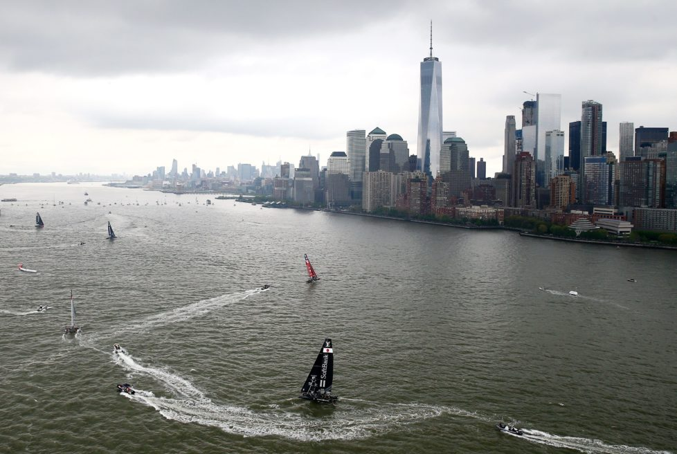 NEW YORK, NY - MAY 07: SoftBank Team Japan and the rest of the field sail the course during Day 1 of the Louis Vuitton America's Cup World Series Racing in the Hudson River on May 7, 2016 in New York City. (Photo by Elsa/Getty Images)
