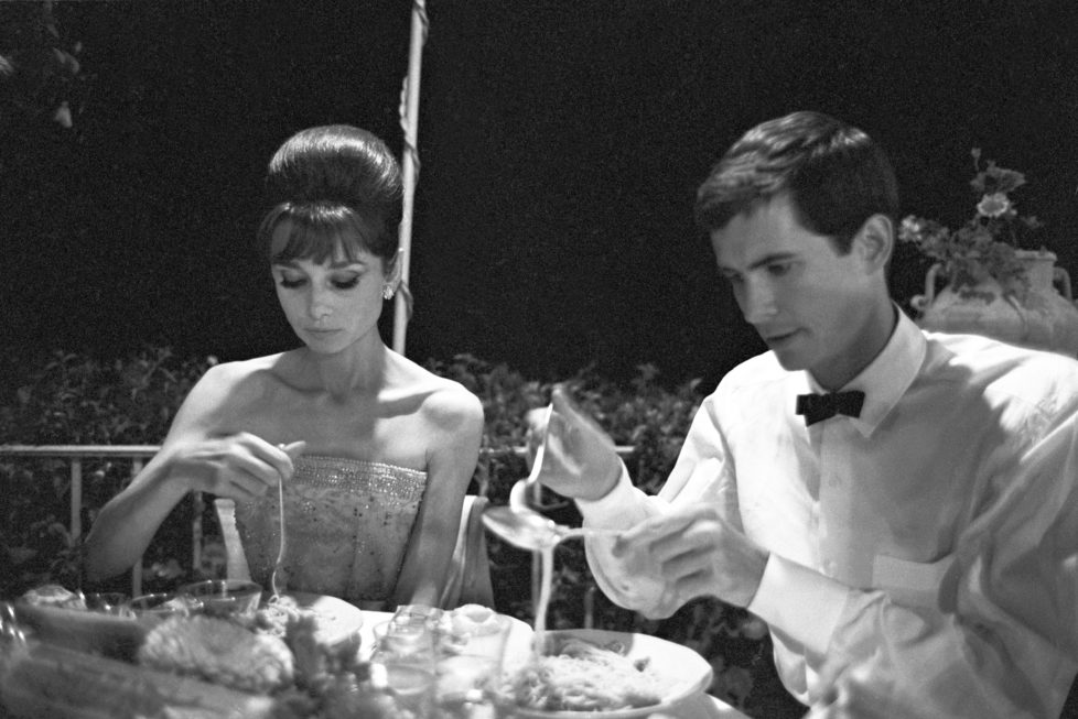 British actress Audrey Hepburn (Audrey Kathleen Ruston) and American actor Anthony Perkins at David di Donatello Awards dinner. Taormina, 25th July 1962 (Photo by Pierluigi Praturlon/Reporters Associati & Archivi/Mondadori Portfolio via Getty Images)