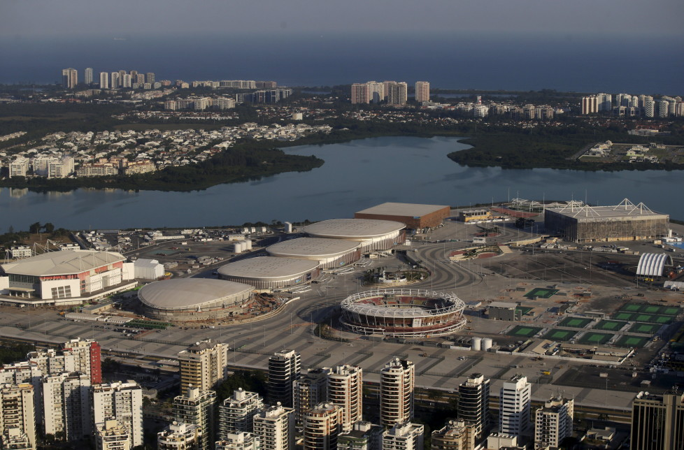 "An aerial view shows the 2016 Rio Olympic park in Rio de Janeiro, Brazil, April 25, 2016. With 100 days to go before the Olympic games begin in Rio de Janeiro, a host nation famous for doing things at the last minute faces a novel situation - the organisation is not an issue, political turmoil and apathy are. REUTERS/Ricardo Moraes SEARCH ""100 OLYMPICS"" FOR THIS STORY. SEARCH ""THE WIDER IMAGE"" FOR ALL STORIES - RTX2BREO"