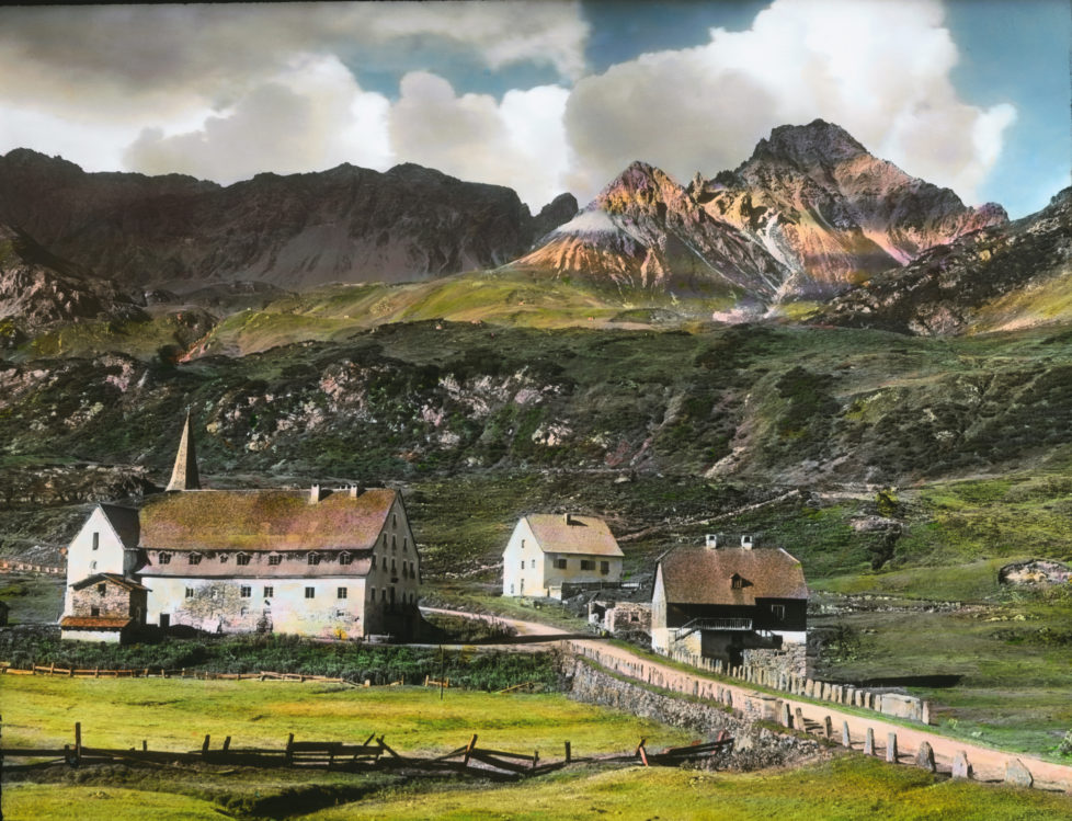 AUSTRIA - CIRCA 1910: The hospice in St. Christoph. Arlberg. Tyrol. Austria. Hand-colored lantern slide around 1910. (Photo by Imagno/Getty Images)