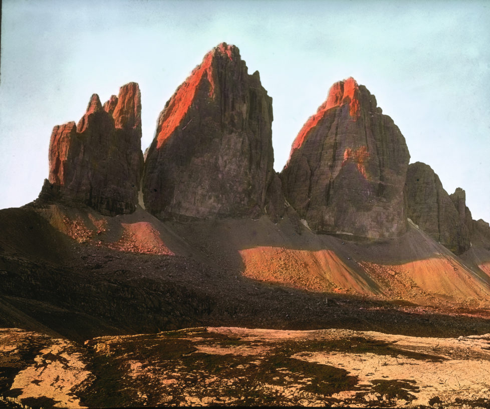 ITALY - CIRCA 1910: Tre Cime di Lavaredo (the three peaks of Lavaredo). Sexten Dolomites. South Tyrol. Italy. Hand-colored lantern slide around 1910. (Photo by Imagno/Getty Images)
