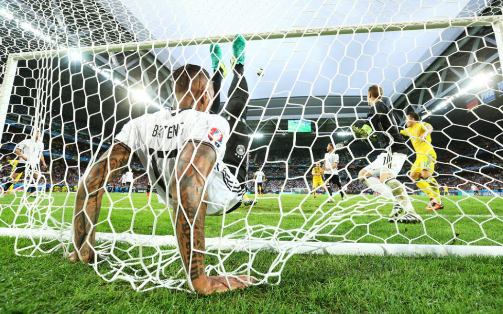 epa05360197 German defender Jerome Boateng clears the ball from the line during the UEFA EURO 2016 group C preliminary round match between Germany and Ukraine at Stade Pierre Mauroy in Lille Metropole, France, 12 June 2016.....(RESTRICTIONS APPLY: For editorial news reporting purposes only. Not used for commercial or marketing purposes without prior written approval of UEFA. Images must appear as still images and must not emulate match action video footage. Photographs published in online publications (whether via the Internet or otherwise) shall have an interval of at least 20 seconds between the posting.) EPA/SHAWN THEW EDITORIAL USE ONLY