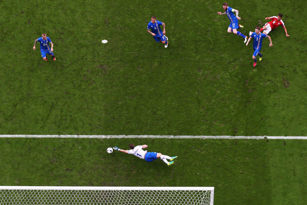 PARIS, FRANCE - JUNE 22: Alessandro Schoepf of Austria scores his team's first goal during the UEFA EURO 2016 Group F match between Iceland and Austria at Stade de France on June 22, 2016 in Paris, France. (Photo by Paul Gilham/Getty Images)