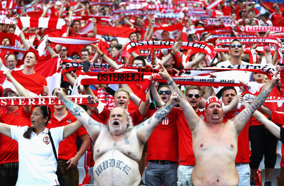 PARIS, FRANCE - JUNE 22: Austria fans show their support prior to the UEFA EURO 2016 Group F match between Iceland and Austria at Stade de France on June 22, 2016 in Paris, France. (Photo by Paul Gilham/Getty Images)