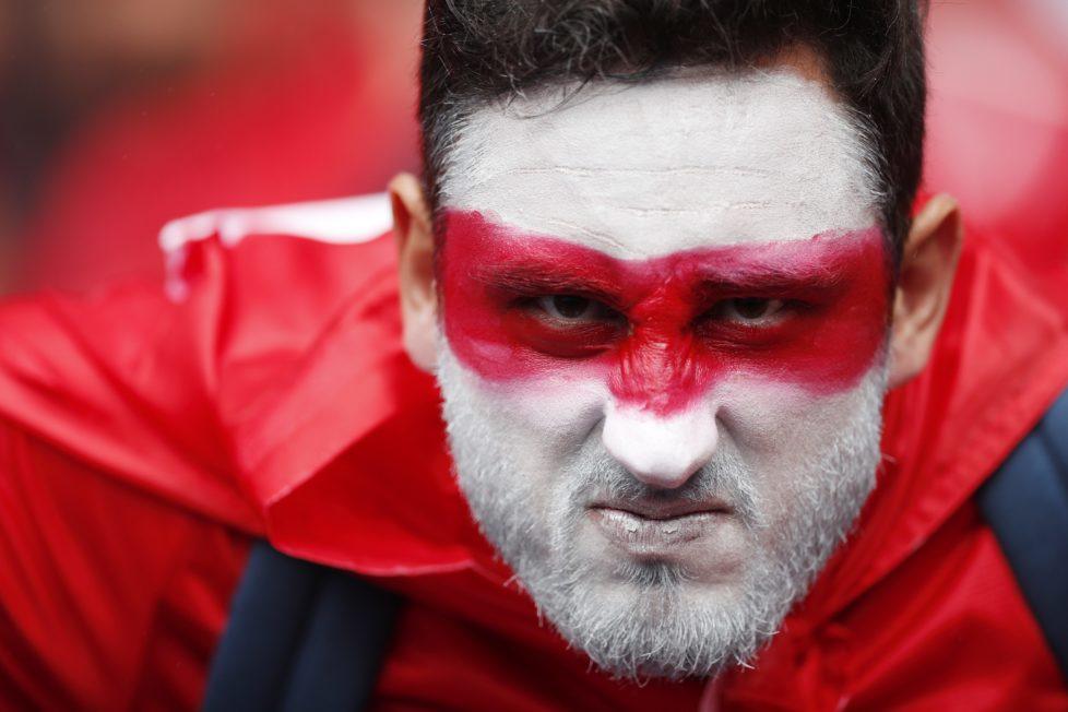 Football Soccer - Turkey v Croatia - EURO 2016 - Group D - Parc des Princes, Paris, France - 12/6/16 A Turkey fan with face paint before the match REUTERS/John Sibley Livepic