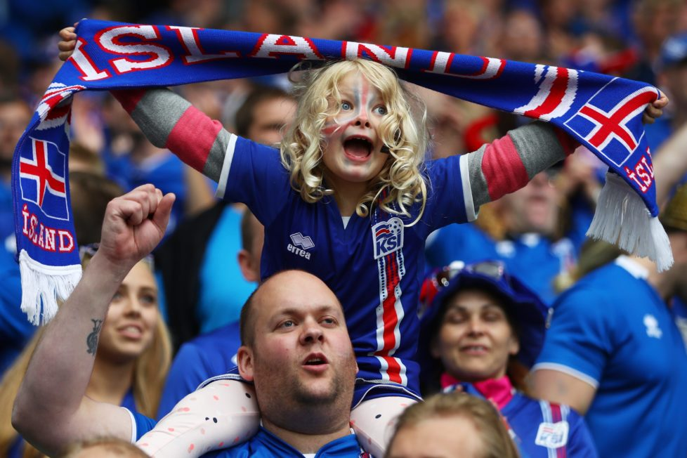 SAINT-ETIENNE, FRANCE - JUNE 14: Iceland fans show their support prior to the UEFA EURO 2016 Group F match between Portugal and Iceland at Stade Geoffroy-Guichard on June 14, 2016 in Saint-Etienne, France. (Photo by Michael Steele/Getty Images)