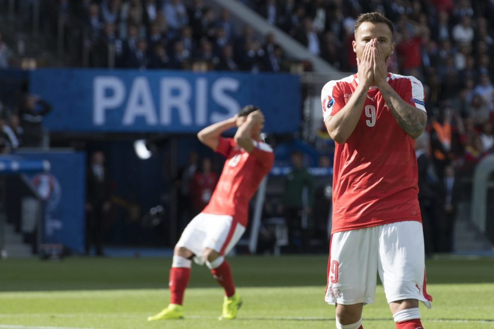 Swiss forward Haris Seferovic reacts after missing an action during the UEFA EURO 2016 group A preliminary round soccer match between Romania and Switzerland, at the Parc des Princes stadium, in Paris, France, Wednesday, June 15, 2016. (KEYSTONE/Jean-Christophe Bott)