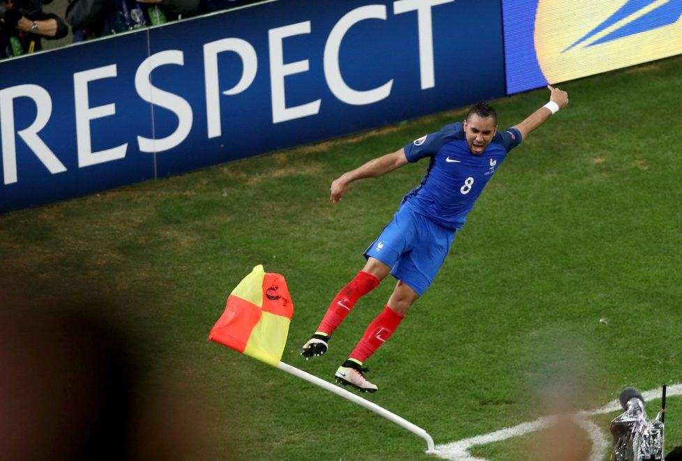 France's Dimitri Payet celebrates after scoring his side's second goal during the Euro 2016 Group A soccer match between France and Albania at the Velodrome stadium in Marseille, France, Wednesday, June 15, 2016. (AP Photo/Claude Paris)