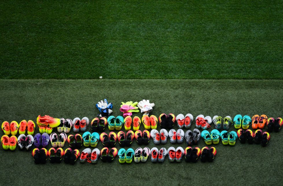 NICE, FRANCE - JUNE 16: Boots of Turkey players are seen on the pitch before a training session ahead of their UEFA Euro 2016 Group D match against Spain at Allianz Riviera Stadium on June 16, 2016 in Nice, France. (Photo by David Ramos/Getty Images)