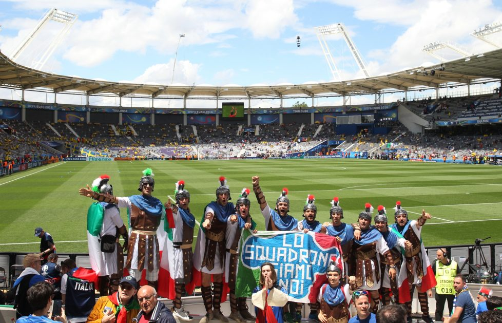 TOULOUSE, FRANCE - JUNE 17: The Italian supporters enjoy the pre match atmosphere prior to the UEFA EURO 2016 Group E match between Italy and Sweden at Stadium Municipal on June 17, 2016 in Toulouse, France. (Photo by Dean Mouhtaropoulos/Getty Images)