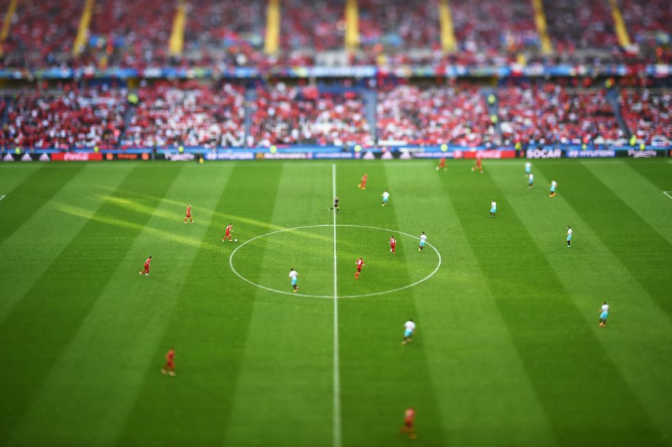 LENS, FRANCE - JUNE 21: (EDITORS NOTE: Image was created using a tilt-shift lens) A general view of kick off during the UEFA EURO 2016 Group D match between Czech Republic and Turkey at Stade Bollaert-Delelis on June 21, 2016 in Lens, France. (Photo by Matthias Hangst/Getty Images)