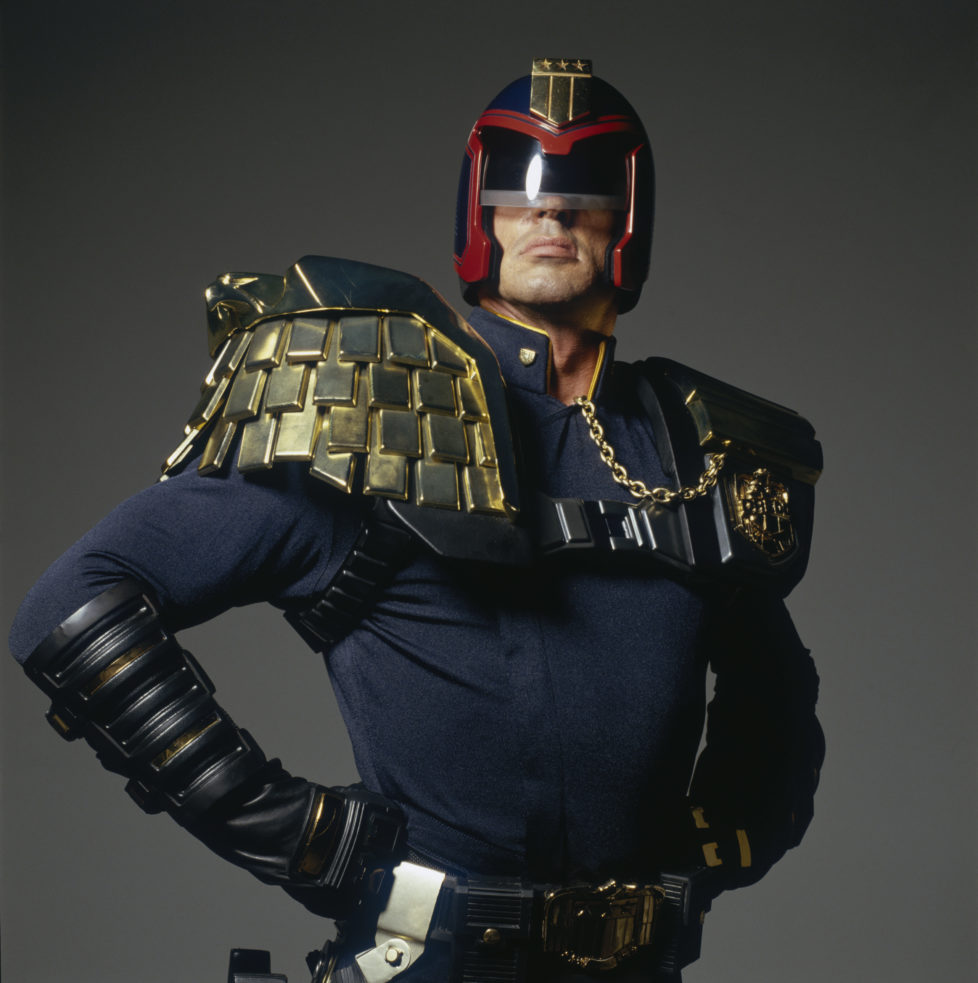 American actor Sylvester Stallone in costume for the title role in 'Judge Dredd', directed by Danny Cannon, September 1994. Stallone's character is a morally dubious police officer operating in a future dystopia. (Photo by Terry O'Neill/Hulton Archive/Getty Images)
