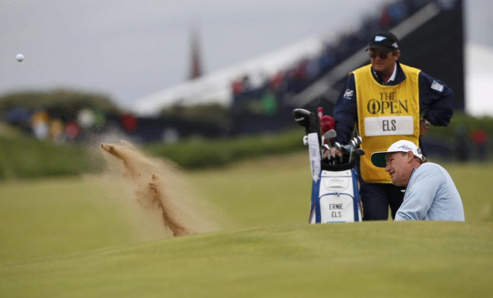 Golf - British Open - South Africa's Ernie Els plays out of a bunker on the first hole during the second round - Royal Troon, Scotland, Britain - 15/07/2016. REUTERS/Craig Brough