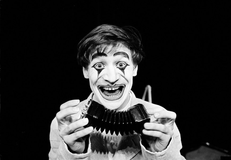 Dimitri, the clown and mime from Ascona, Switzerland, rehearses at the Theatre des Vieux Colombiers in Paris, France, where he will be appearing for six weeks, May 27, 1964. Dimitri Jakob Muller, born in 1935, began work as a musician in the circus under the direction of Maisse, as the partner of the famous Greek. (AP Photo/Michel Lipchitz)