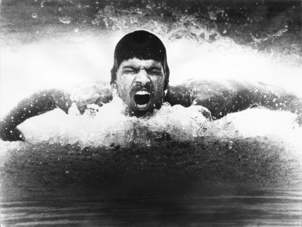 Olympic swimming gold medal winner Mark Spitz in action during a training session. (Photo by Keystone/Getty Images)