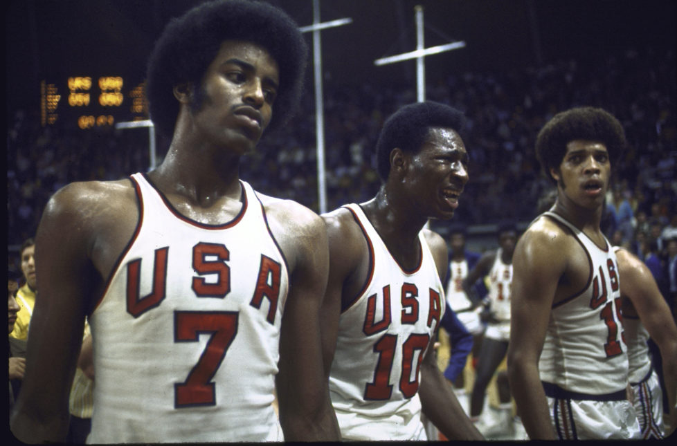 A stunned US basketball team after they were defeated by the Soviets at the Summer Olympics. (Photo by Rich Clarkson/The LIFE Images Collection/Getty Images)