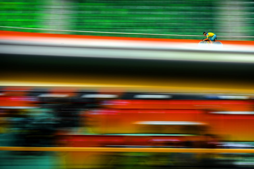 RIO DE JANEIRO, BRAZIL - JULY 31: Nathan Hart of Australia practices during a track cycling training session at the Rio Olympic Velodrome on July 31, 2016 in Rio de Janeiro, Brazil. (Photo by David Ramos/Getty Images)