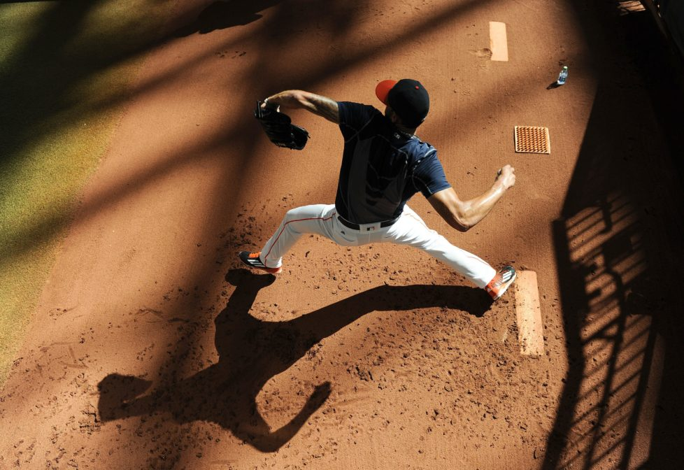 Houston Astros pitcher Joe Musgrove warms up in the bullpen before a baseball game against the Toronto Blue Jays, Monday, Aug. 1, 2016, in Houston. (AP Photo/Eric Christian Smith)