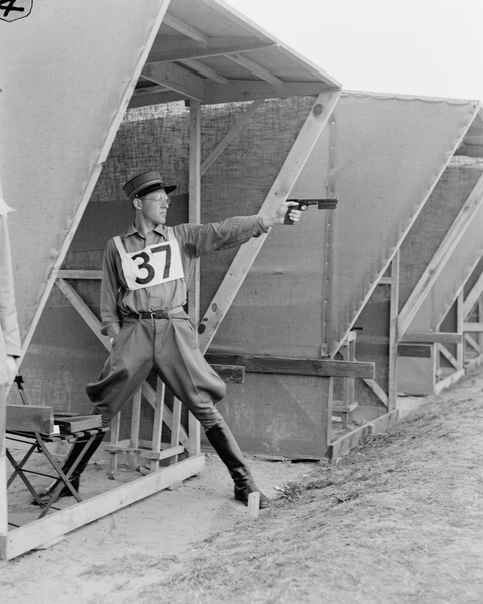 Fritz Hegner of Switzerland on the shooting range at Bisley, Surrey, during the modern pentathlon event at the Olympic Games, 2nd August 1948. (Photo by Topical Press Agency/Hulton Archive/Getty Images)