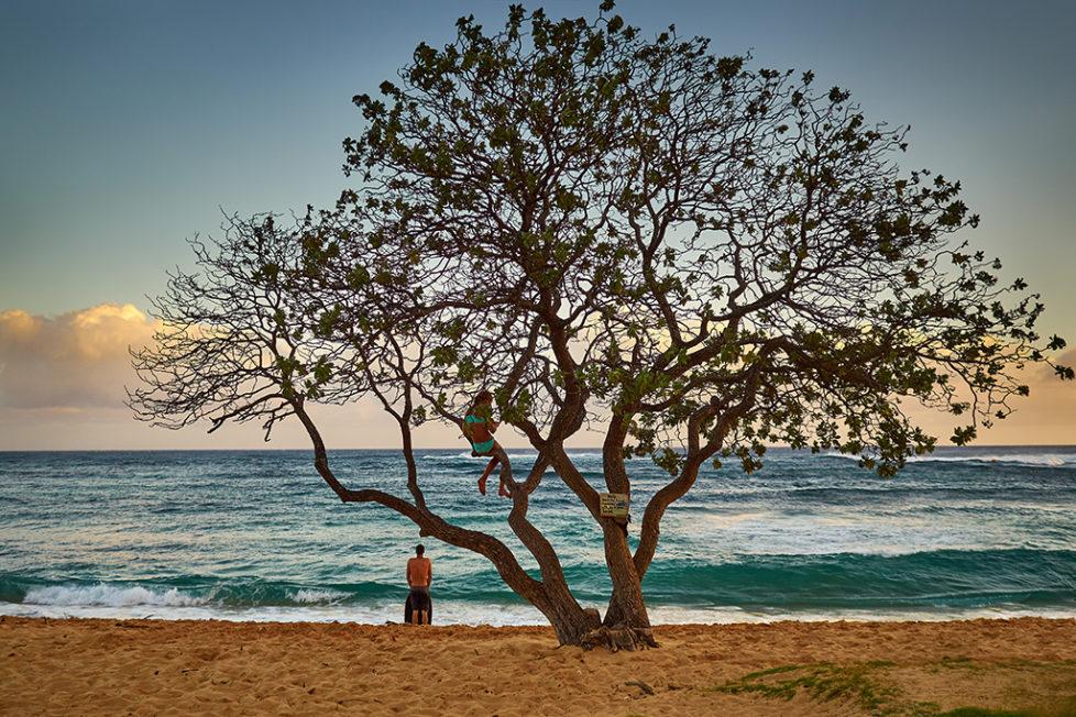 An evening scene somewhere on Kauai's Poipu beach