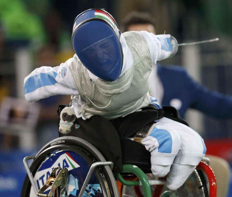 2016 Rio Paralympics - Wheelchair Fencing - Bronze Medal Match - Women's Foil Team - Carioca Arena 3 - Rio de Janeiro, Brazil - 16/09/2016. Italy's Beatrice Vio ITA after beating Hong Kong's Justine Charissa Ng HKG. REUTERS/Carlos Garcia Rawlins FOR EDITORIAL USE ONLY. NOT FOR SALE FOR MARKETING OR ADVERTISING CAMPAIGNS. TPX IMAGES OF THE DAY
