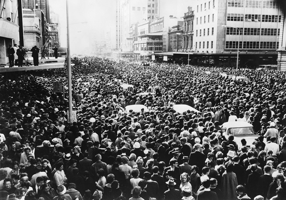 12th June 1964: A vast crowd gathers outside the Town Hall in King William Street, to welcome the Beatles to Adelaide. (Photo by Keystone/Getty Images)
