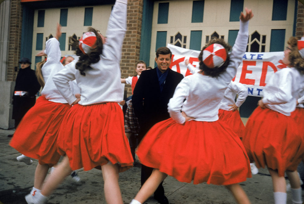 WISCONSIN, UNITED STATES - MARCH 1960: Presidential hopeful, Senator John F. Kennedy (Dem-MA), getting a cheer from high school girls while campaigning in Wisconsin. (Photo by Stan Wayman/The LIFE Picture Collection/Getty Images)