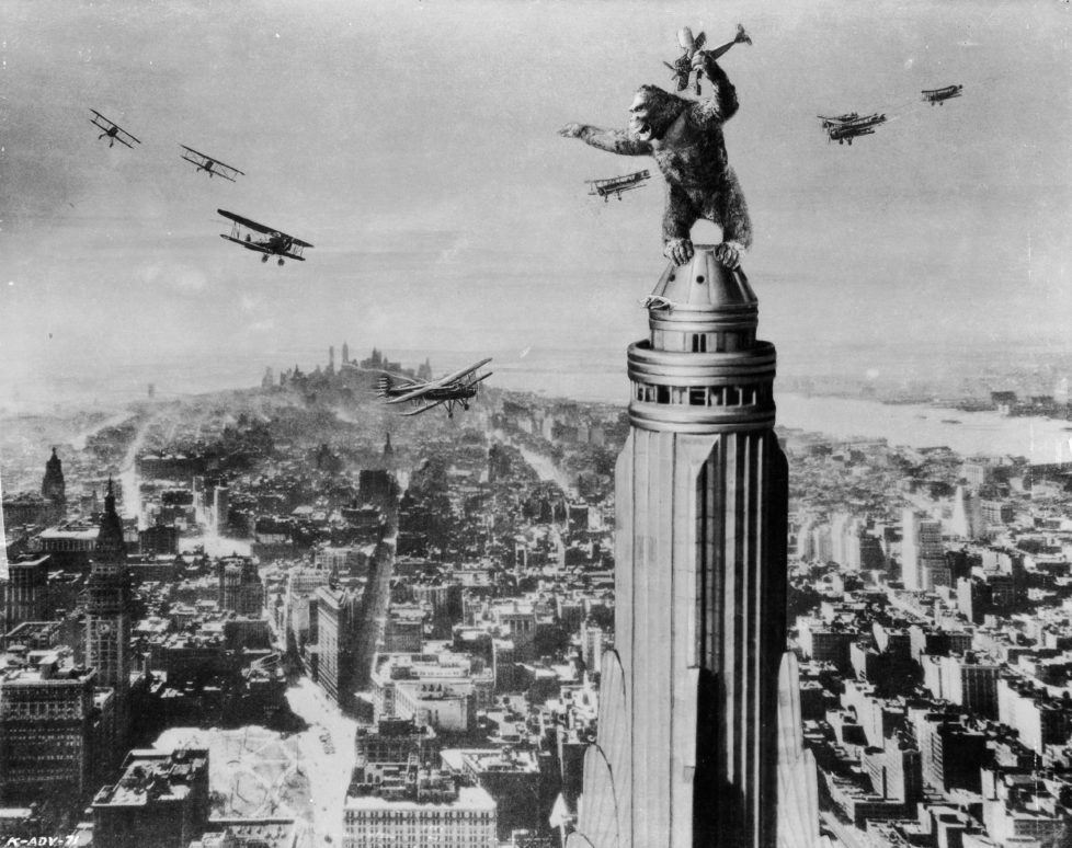 1933: One of John Cerisoli's models of the giant ape, poised atop a Manhattan skyscraper in a scene from the classic monster movie 'King Kong'. (Photo via John Kobal Foundation/Getty Images)