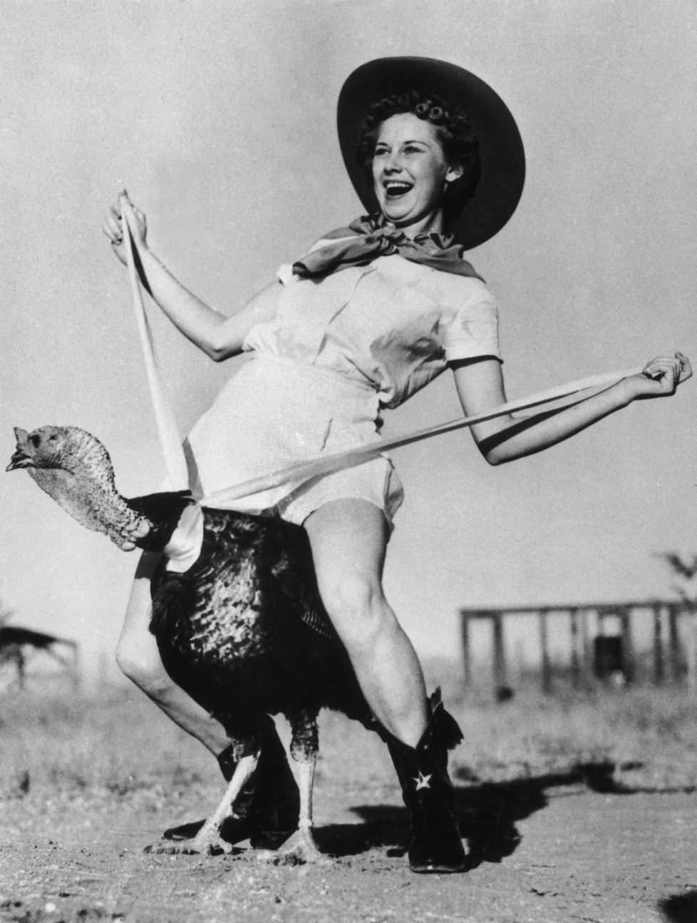 UNSPECIFIED - OCTOBER 29: Dottie Richardson Riding A Turkey For Thanksgiving In 1938. (Photo by Keystone-France/Gamma-Keystone via Getty Images)