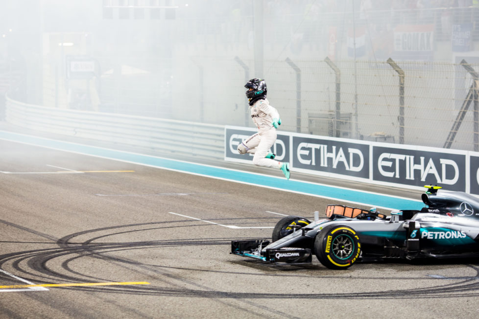 ABU DHABI, UNITED ARAB EMIRATES - NOVEMBER 27: Nico Rosberg of Mercedes and Germany wins the Formula One World Championship at the Abu Dhabi Formula One Grand Prix at Yas Marina Circuit on November 27, 2016 in Abu Dhabi, United Arab Emirates. (Photo by Peter J Fox/Getty Images)