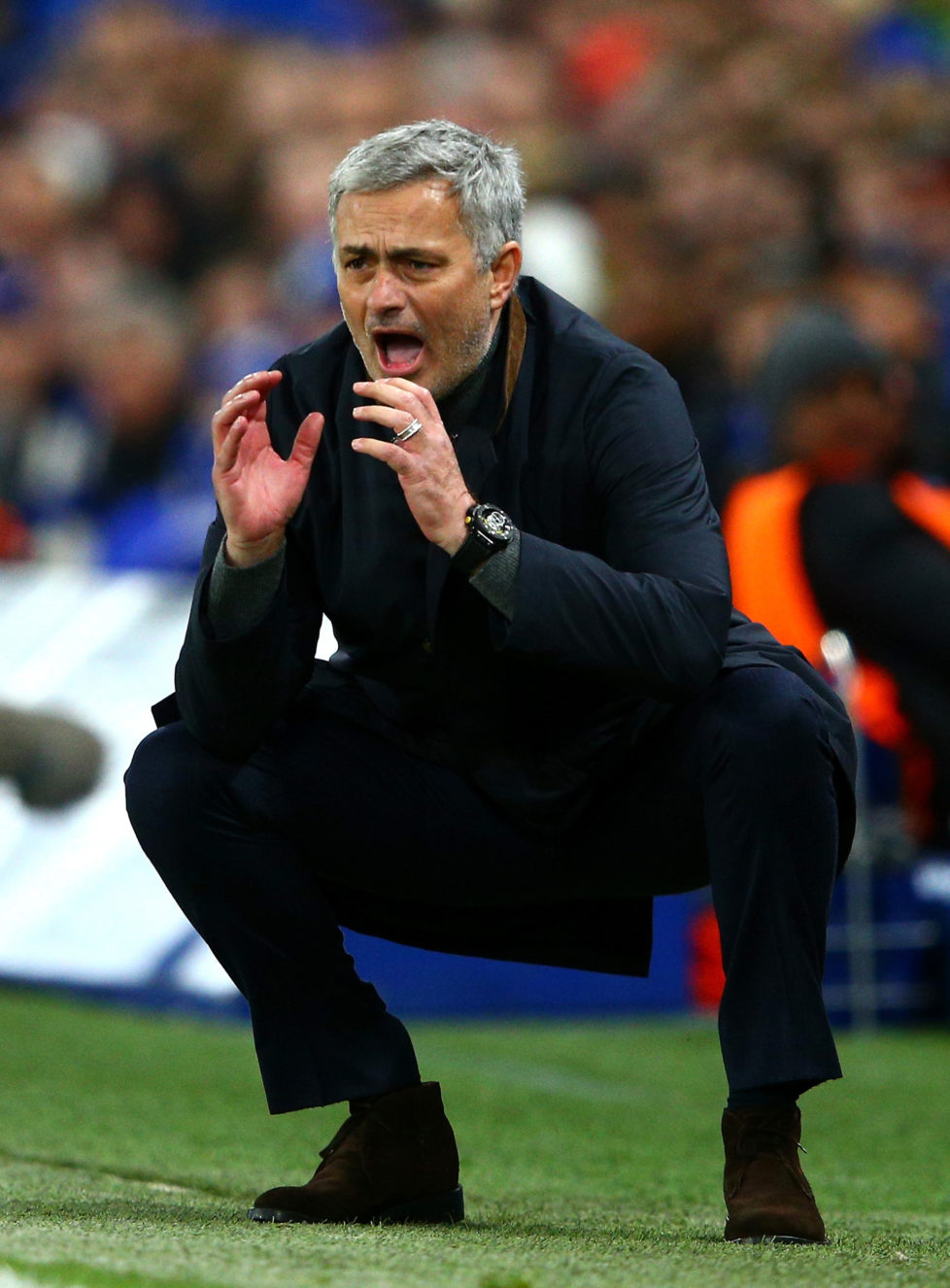 LONDON, ENGLAND - DECEMBER 09: Jose Mourinho manager of Chelsea reacts during the UEFA Champions League Group G match between Chelsea FC and FC Porto at Stamford Bridge on December 9, 2015 in London, United Kingdom. (Photo by Clive Mason/Getty Images)