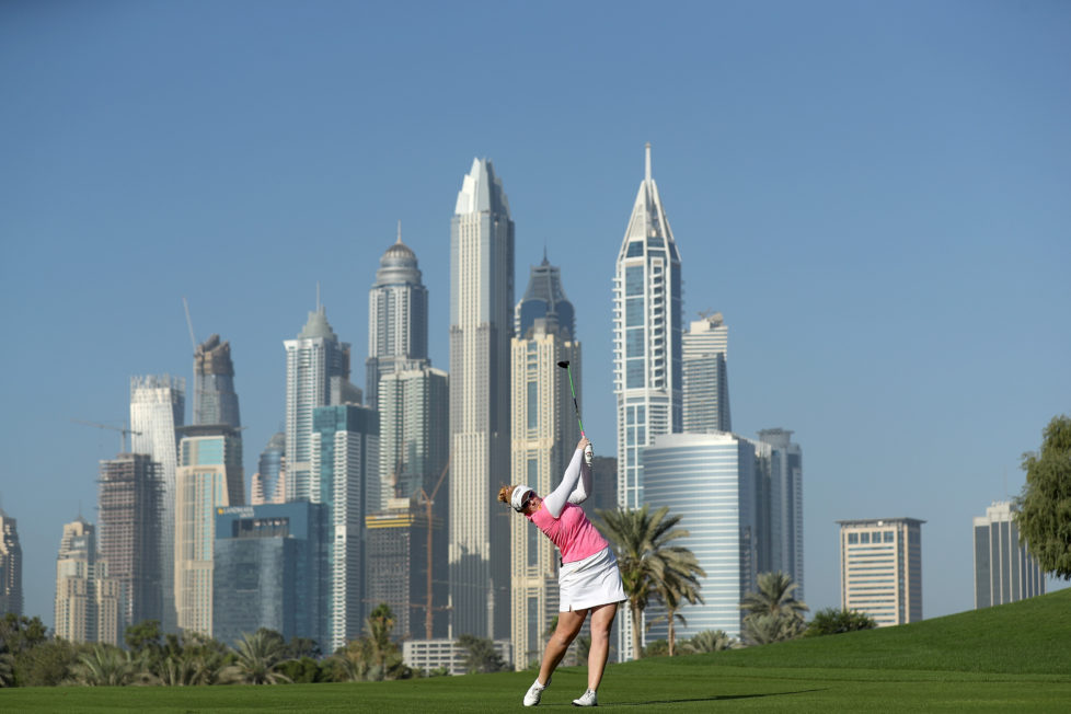 DUBAI, UNITED ARAB EMIRATES - DECEMBER 09: Kylie Walker of Scotland plays her second shot on the par 5, 13th hole during the delayed second round of the 2016 Omega Dubai Ladies Masters on the Majlis Course at the Emirates Golf Club on December 9, 2016 in Dubai, United Arab Emirates. (Photo by David Cannon/Getty Images)